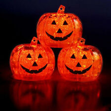 Set of 3 Litecubes Brand Light up LED Ice Cubes Pumpkin Jack O Lanterns
