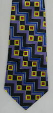 Aldo Baldini Mens Neck Tie Necktie Zig Zag Geometric Blue Purple Yellow Red