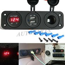 3in1 Waterproof Car Triple USB Charger Port + Voltmeter + Cigarette Lighter 12V