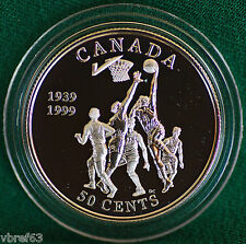 1999 Canada Basketball Invention Proof 50 cent coin in original metal case