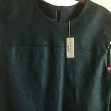 NWT Longchamp Dark Blue Leather Dress With Logos And Side Pockets. Sz L. Italy.
