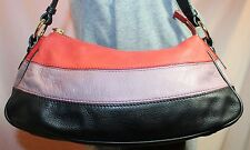 LIZ CLAIBORNE Small Red Purple Black Leather Shoulder Tote Slouch Purse Bag