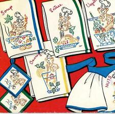 Hand Embroidery Transfer 645 Bear Chef's Menu for Kitchen Towels Aprons Hot Pads