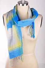 $95 Cashmere by Charter Club Women's Luxury Woven Scarf Plaid Bright Peacock OS