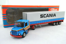 Rare TEKNO 1:50 SCANIA T-CAB 142H Truck &3-Axle Metal Trailer SCANIA Promotion