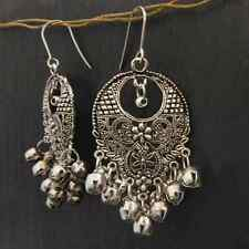 Handmade Indian ethnic gypsy chandelier silver earrings with bell fringe