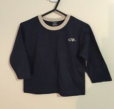 NWOT Baby Boys size 0, 9-12 Months Beautiful Cotton Navy Blue & Cream Winter Top