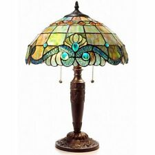 Tiffany Style Pearl Vintage Table Lamp Light Yellow Blue Glass