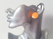 "Big plain peach flat plastic CLIP ON button style stud earrings retro  1"" *NEW*"