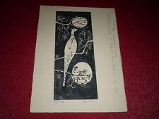 [Collection JEAN PICART LE DOUX] GRAVURE SUR BOIS Signée POIRIER 1959 OISEAU