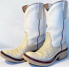 RIOS OF MERCEDES WINTER WHITE SMOOTH OSTRICH CREPE COWBOY BOOTS LADIES  6.5 - 7C