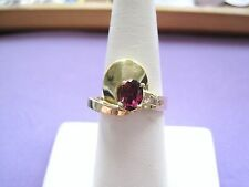 LQQK VNTG Statement Ring 14K yellow Gold Pink Stone & Diamonds sz6.75 Women