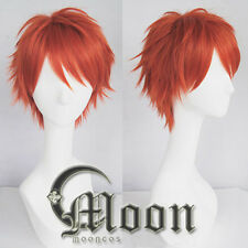 Game Mystic Messenger 707 Red Orange Heat Resistant Hair Wig Cosplay Wigs E173
