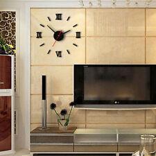 Home 3D clock watch decor mirror sticker wall clock modern design New 1pc