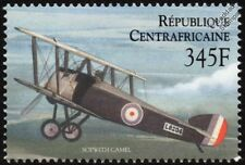 WWI RAF/RFC Sopwith Camel Fighter Aircraft Stamp (2000 Central African Republic)