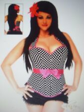 Daisy Corsets Rockabilly Diva Corset Set 1831X Black/White/Hot Pink  size XL NEW