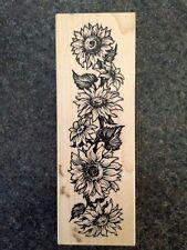 PSX G-2003 Sunflowers, Wooden Rubber Stamp, Vintage 1996, Flowers Gardening