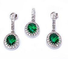 Oval Cabachon Emerald & Cz .925 Sterling Silver Earring & Pendant Jewelry set