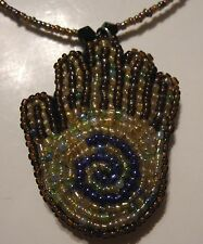 """Brown Blue Beaded Reiki Energy Healing Spiral Hand 18"""" Lobster Claw Necklace NEW"""