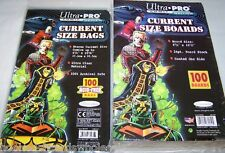 "100 each Ultra Pro 6 3/4"" Current Comic Book Backer Backing Boards & Bags"