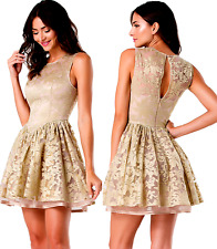 $229 NWT bebe bronze gold shimmery flare cutout bustier top dress XXS XS 0