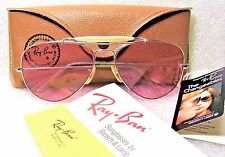 RAY-BAN *NOS VINTAGE B&L AVIATOR 10k *LIC White Gold Rose *Changeable SUNGLASSES