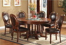 """7PC TRADITIONAL ELEGANCE FORMAL 60"""" ROUND CHERRY FINISH WOOD DINING TABLE SET"""
