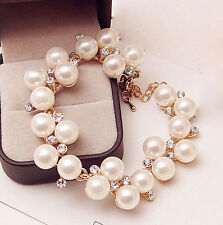 Bangle Fashion Women Crystal Charm Cuff Bracelet NEW HOT Rhinestone Pearl