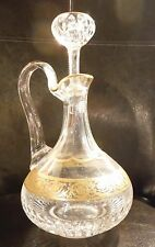 """ST. LOUIS CRYSTAL GOLDEN ENCRUSTED SMALL WINE DECANTER IN """"THISTLE"""" PATTERN"""
