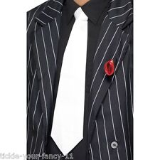 White Gangster Tie on Elastic Mobster 20's Fancy Dress Colour Mens Womens Unisex