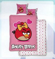 NEXT ANGRY BIRDS PINK HEARTS RED BIRD SINGLE PANEL DUVET SET QUILT COVER BEDDING