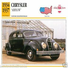 "CHRYSLER ""AIRFLOW"" 1934 1937 CAR VOITURE USA ETATS-UNIS CARTE CARD FICHE"