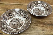 Wedgwood Avon Cottage Brown 113158 England Floral Rim Scene 2 Coupe Cereal Bowls