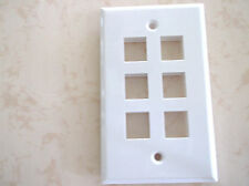 50 PACK -6 PORT KEYSTONE TYPE CAT5E CAT6 COAX FACEPLATE WHITE USA SELLER!