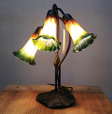 ART DECO LILY 3L TABLE LAMP IN ANTIQUE BRASS FINISH + AMBER/GREEN GLASS SHADES