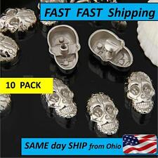 10 PACK ----  Set Silver Screwback Skull Studs Rock Rivet Spike