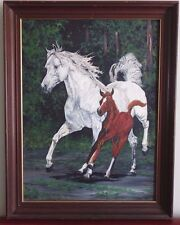 Vintage Original Mare Foal Horses Oil Painting by Nancy Cuno 24 x18 Canvas Board