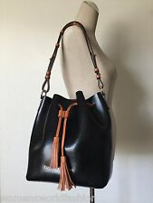 Dooney & Bourke Large Black Serena Drawstring Shoulder Bag Bucket Tote GX139 NWT