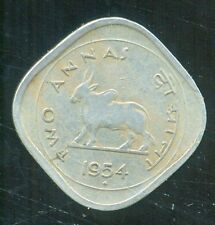 1954 TWO ANNA { 2 ANNA }BULL COIN, BOMBAY MINT.