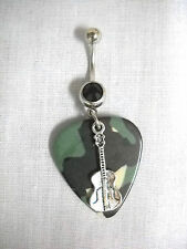 COUNTRY GIRL CAMO GUITAR PICK & CLASSIC GUITAR CHARM BLACK CZ BELLY BUTTON RING