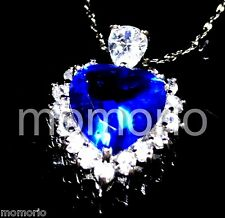 titanic heart of the ocean sapphire Pendant Necklace CZ 18k white gold plated SB