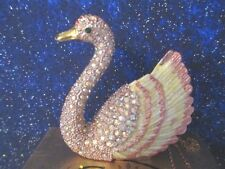 "SWAN ""GRACE""  ~ ENAMELED & JEWELED TRINKET BOX WITH MATCHING NECKLACE  # 677PK"