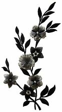 "#4113B 10"" Wild Black Leaves & Grey Flower Embroidery Iron On Applique Patch"