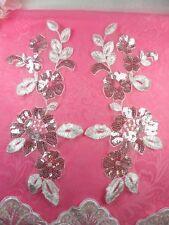 """Venise Lace Appliques White Floral Mirror Pair Sequin 10"""" (BL73X-wh)"""