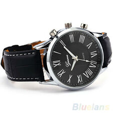 New Roman Dial Men Elegant Leather Black Analog Quartz Sport Wrist Watch BGBU