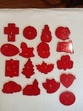 Lot vtg HRM Red Plastic Christmas Spring All Occasion Cookie Cutters Lot Of 17