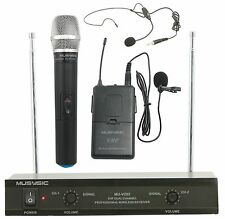 Dual Channel VHF Wireless Microphone System With Handheld & Lapel / Headset