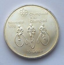 1974 CANADA SILVER $10 1976 MONTREAL OLYMPICS CYCLING COIN