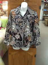 EUC! Womens Beautiful CHICOS Size 0 Small Brown Floral Knit Blazer