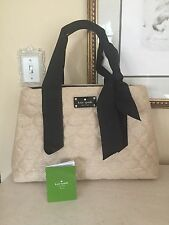 KATE SPADE Quilted Soft STRAW Fabric Bow Beige/Black Medium Shoulder Bag Purse